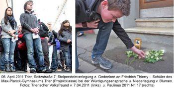 06. April 2011 Trier, Seitzstraße 7: Stolpersteinverlegung z. Gedenken an Friedrich Thierry -  Schüler des  Max-Planck-Gymnasiums Trier (Projektklasse) bei der Würdigungsansprache und Niederlegung von Blumen.