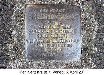 Stolperstein Friedrich Thierry Trier, Seitzstraße 7, verlegt 6. April 2011