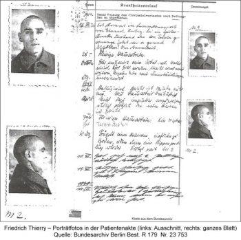 Friedrich Thierry – Porträtfotos in der Patientenakte (links: Ausschnitt, rechts: ganzes Blatt), Quelle: Bundesarchiv Berlin Best. R 179  Nr. 23 753