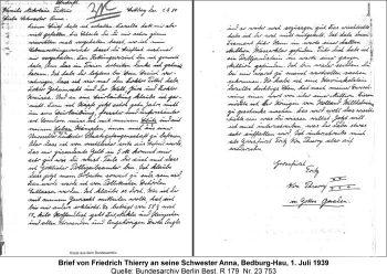 Brief von Friedrich Thierry an seine Schwester Anna, Bedburg-Hau, 1. Juli 1939 Quelle: Bundesarchiv Berlin Best. R 179  Nr. 23 753