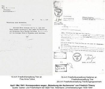 """April/Mai 1941: Korrespondenz wegen """"Beisetzung der Aschenurne"""" von Friedrich Thierry, Quelle: Garten- und Friedhofsamt der Stadt Trier. Aktenband """"Urnenbeisetzungen 1939-1944"""""""