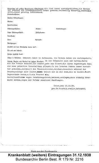 Krankenblatt Maria Trierweiler (weitere) Eintragungen 31.12.1938, Quelle: Bundesarchiv Berlin Best. R 179 Nr. 2216