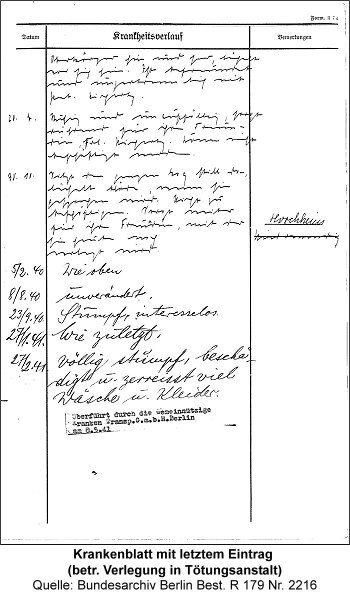Krankenblatt mit letztem Eintrag (betr. Verlegung in Tötungsanstalt), Quelle: Bundesarchiv Berlin Best. R 179 Nr. 2216