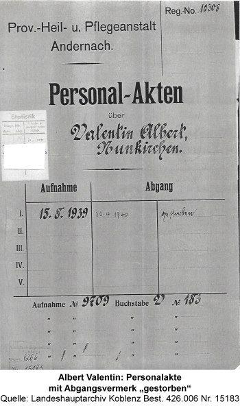 """Albert Valentin: Personalakte mit Abgangsvermerk """"gestorben"""", Quelle: Landeshauptarchiv Koblenz Best. 426.006 Nr. 15183"""