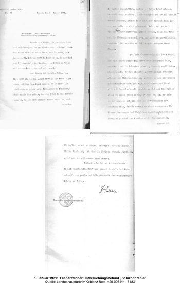 """5. Januar 1931:  Fachärztlicher Untersuchungsbefund """"Schizophrenie"""", Quelle: Landeshauptarchiv Koblenz Best. 426.006 Nr. 15183"""