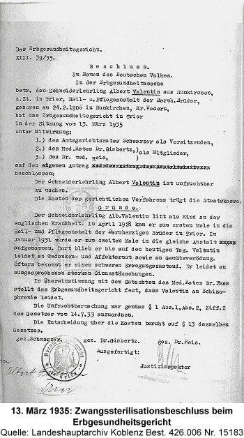 13. März 1935: Zwangssterilisationsbeschluss beim Erbgesundheitsgericht, Quelle: Landeshauptarchiv Koblenz Best. 426.006 Nr. 15183