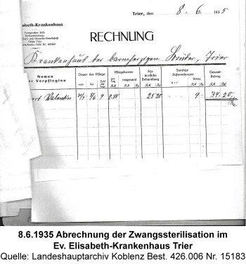 8.6.1935 Abrechnung der Zwangssterilisation im Ev. Elisabeth-Krankenhaus Trier, Quelle: Landeshauptarchiv Koblenz Best. 426.006 Nr. 15183