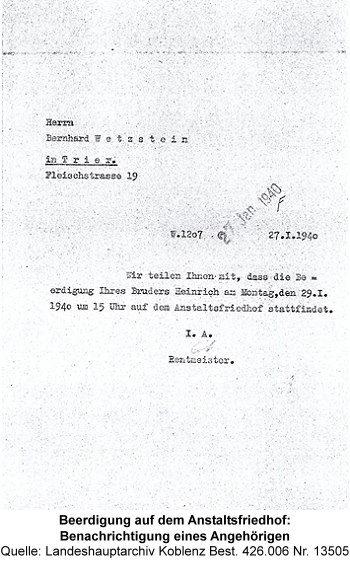 Beerdigung auf dem Anstaltsfriedhof: Benachrichtigung eines Angehörigen, Quelle: Landeshauptarchiv Koblenz Best. 426.006 Nr. 13505