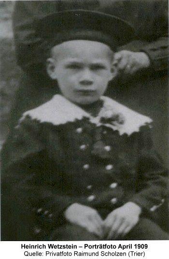 Heinrich Wetzstein – Porträtfoto April 1909, Quelle: Privatfoto Raimund Scholzen (Trier)