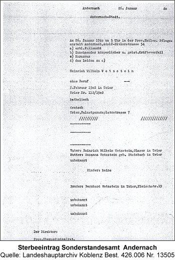 Sterbeeintrag Sonderstandesamt Andernach, Quelle: Landeshauptarchiv Koblenz Best. 426.006 Nr. 13505