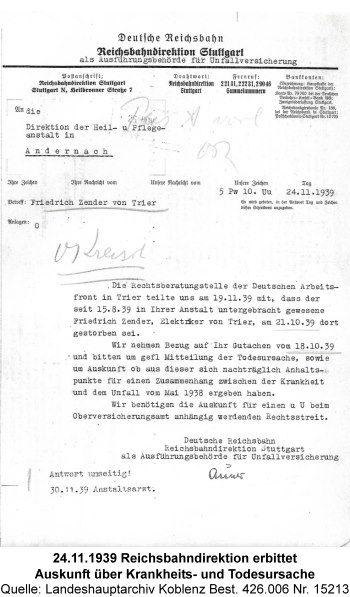 24.11.1939 Reichsbahndirektion erbittet Auskunft über Krankheits- und Todesursache, Quelle: Landeshauptarchiv Koblenz Best. 426.006 Nr. 15213