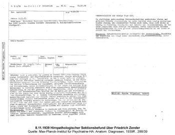 8.11.1939 Hirnpathologischer Sektionsbefund über Friedrich Zender, Quelle: Max-Planck-Institut für Psychiatrie-HA: Anatom. Diagnosen, 1939ff., 288/39