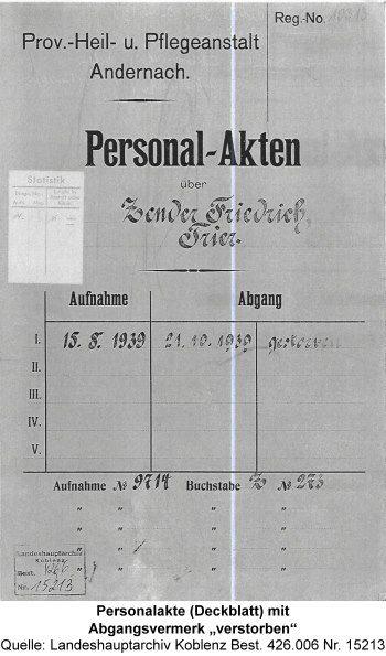 """Personalakte (Deckblatt) mit Abgangsvermerk """"verstorben"""", Quelle: Landeshauptarchiv Koblenz Best. 426.006 Nr. 15213"""