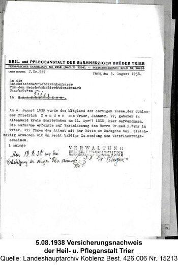 5.08.1938 Versicherungsnachweis der Heil- u. Pfleganstalt Trier, Quelle: Landeshauptarchiv Koblenz Best. 426.006 Nr. 15213