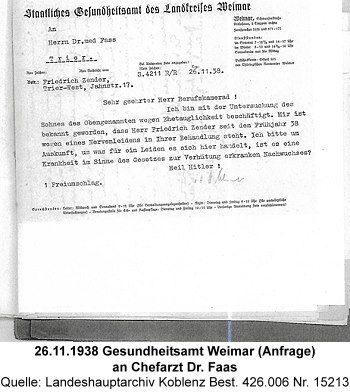 26.11.1938 Gesundheitsamt Weimar (Anfrage) an Chefarzt Dr. Faas, Quelle: Landeshauptarchiv Koblenz Best. 426.006 Nr. 15213