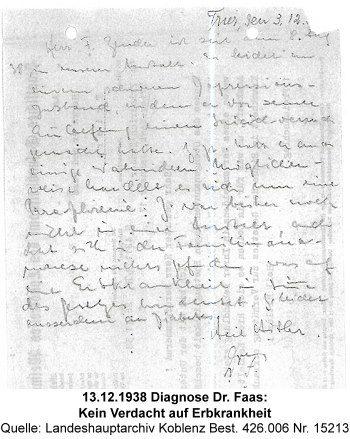 13.12.1938 Diagnose Dr. Faas: Kein Verdacht auf Erbkrankheit, Quelle: Landeshauptarchiv Koblenz Best. 426.006 Nr. 15213