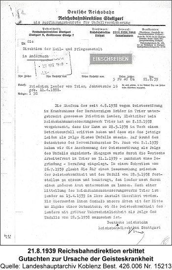 21.8.1939 Reichsbahndirektion erbittet Gutachten zur Ursache der Geisteskrankheit, Quelle: Landeshauptarchiv Koblenz Best. 426.006 Nr. 15213