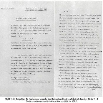 18.10.1939: Gutachten Dr. Kreisch zur Ursache der Geisteskrankheit von Friedrich Zender: Blätter 1-2, Quelle: Landeshauptarchiv Koblenz Best. 426.006 Nr. 15213
