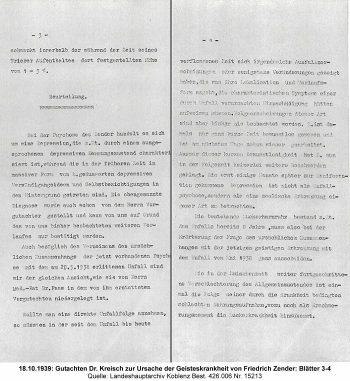 18.10.1939: Gutachten Dr. Kreisch zur Ursache der Geisteskrankheit von Friedrich Zender: Blätter 3-4, Quelle: Landeshauptarchiv Koblenz Best. 426.006 Nr. 15213