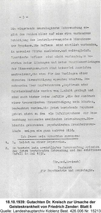 18.10.1939: Gutachten Dr. Kreisch zur Ursache der Geisteskrankheit von Friedrich Zender: Blatt 5, Quelle: Landeshauptarchiv Koblenz Best. 426.006 Nr. 15213