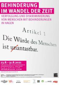 """Plakat """"Behinderung im Wandel der Zeit - Verfolgung und Diskriminierung von Menschen mit Behinderungen in Hagen"""""""